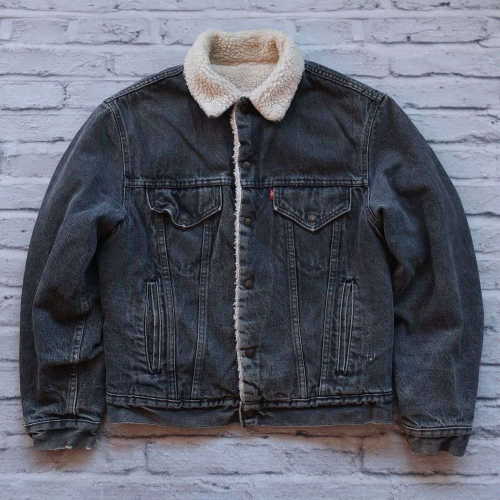 Vintage Levis Sherpa Denim Trucker Jacket Black Size 38R