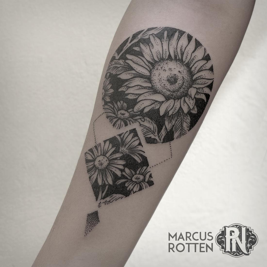Geometric Flower Tattoo: Geometric Flower Tattoo. Sunflower, Botanical, Blackwork