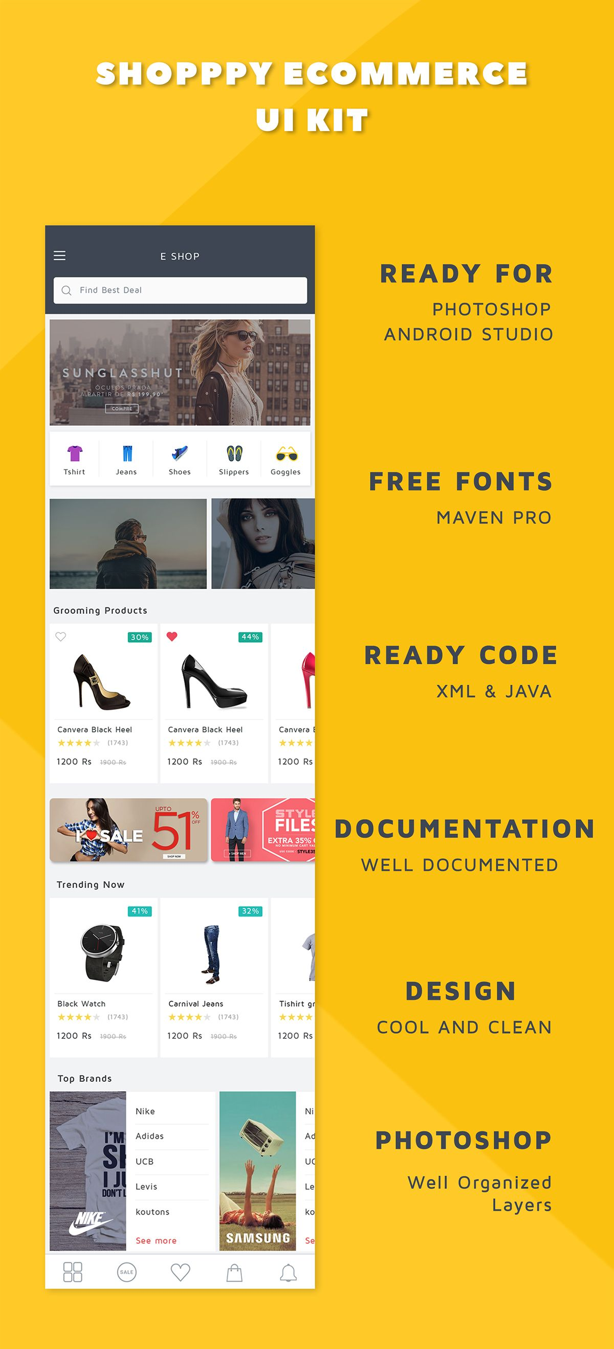 Shoppy Ecommerce UI KIT with android xml Source Code | Shoppy