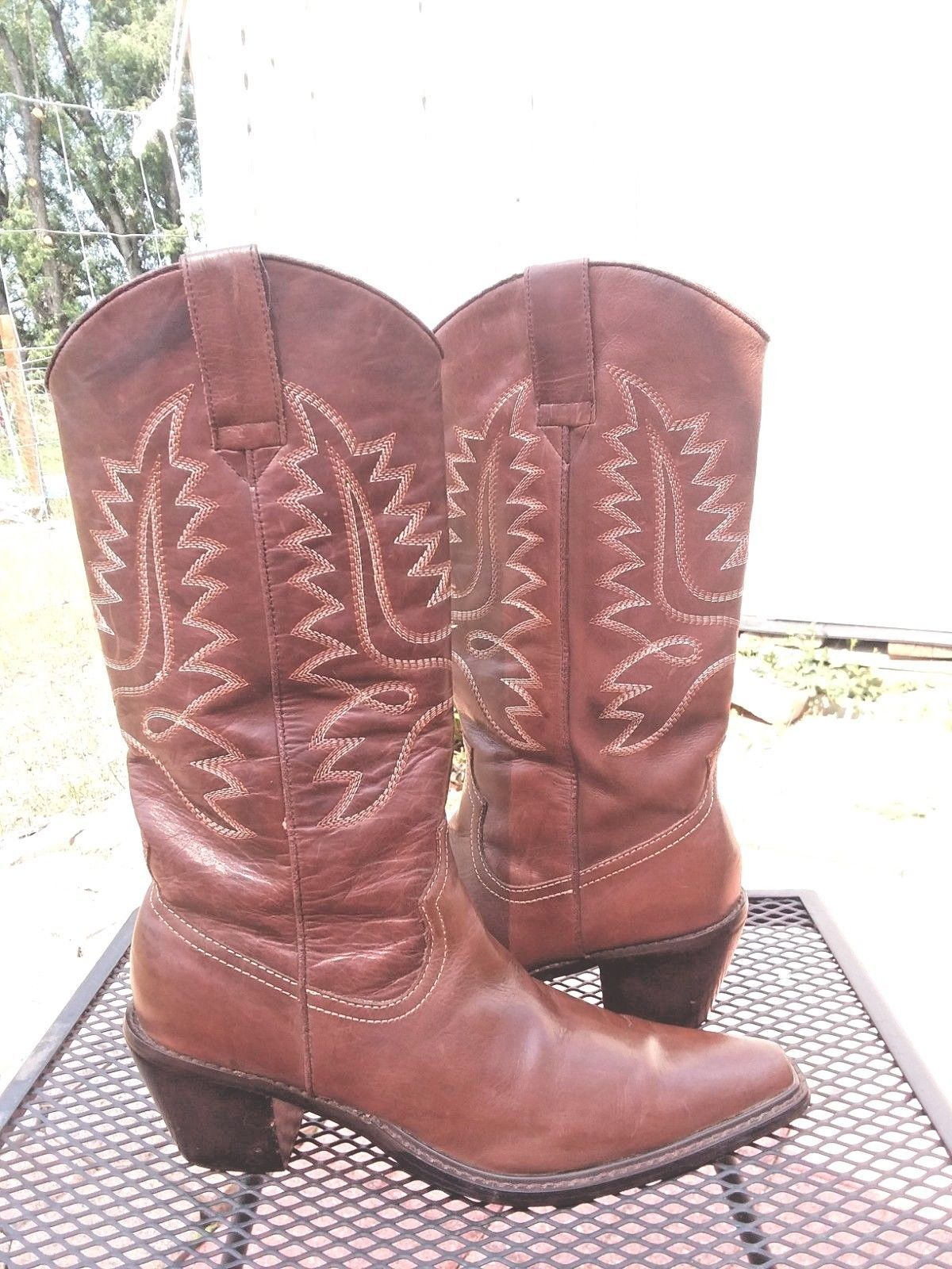 b22ec0dc452 Steve Madden Women s Distressed P-Hide Brown Leather Western Boots Sz.6.5M