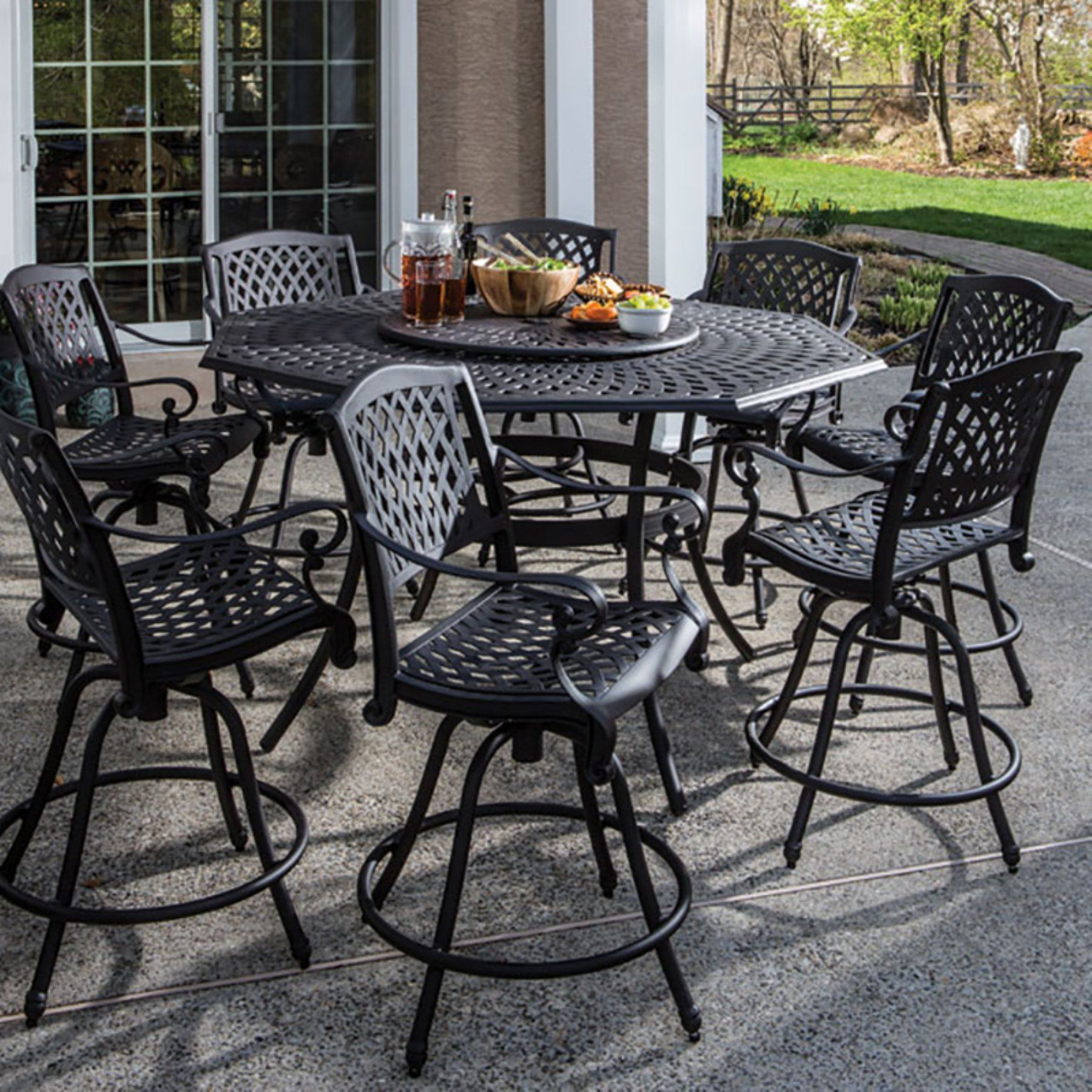 Outdoor Alfresco Home Westbury Aluminum 9 Piece Round Patio Dining