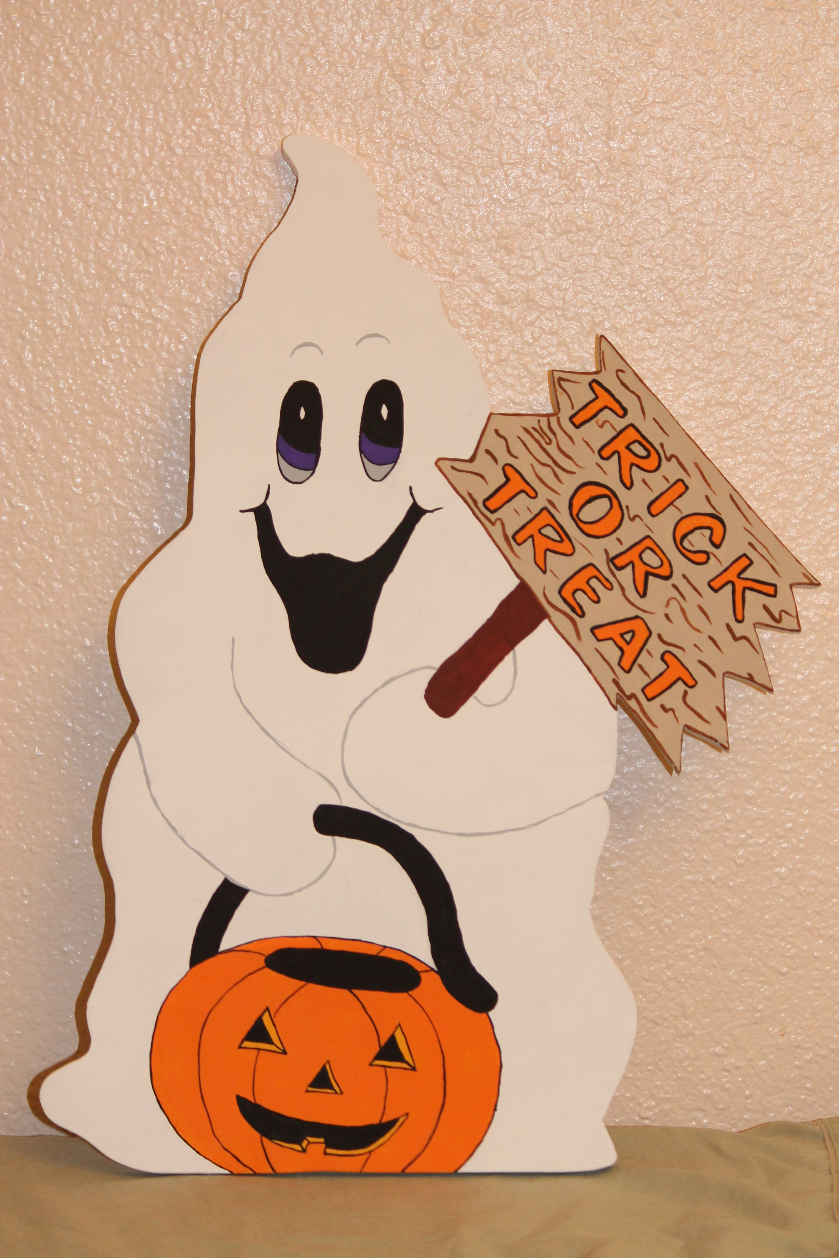 Wooden Yard Art- Trick or Treat Ghost www.facebook.com ...