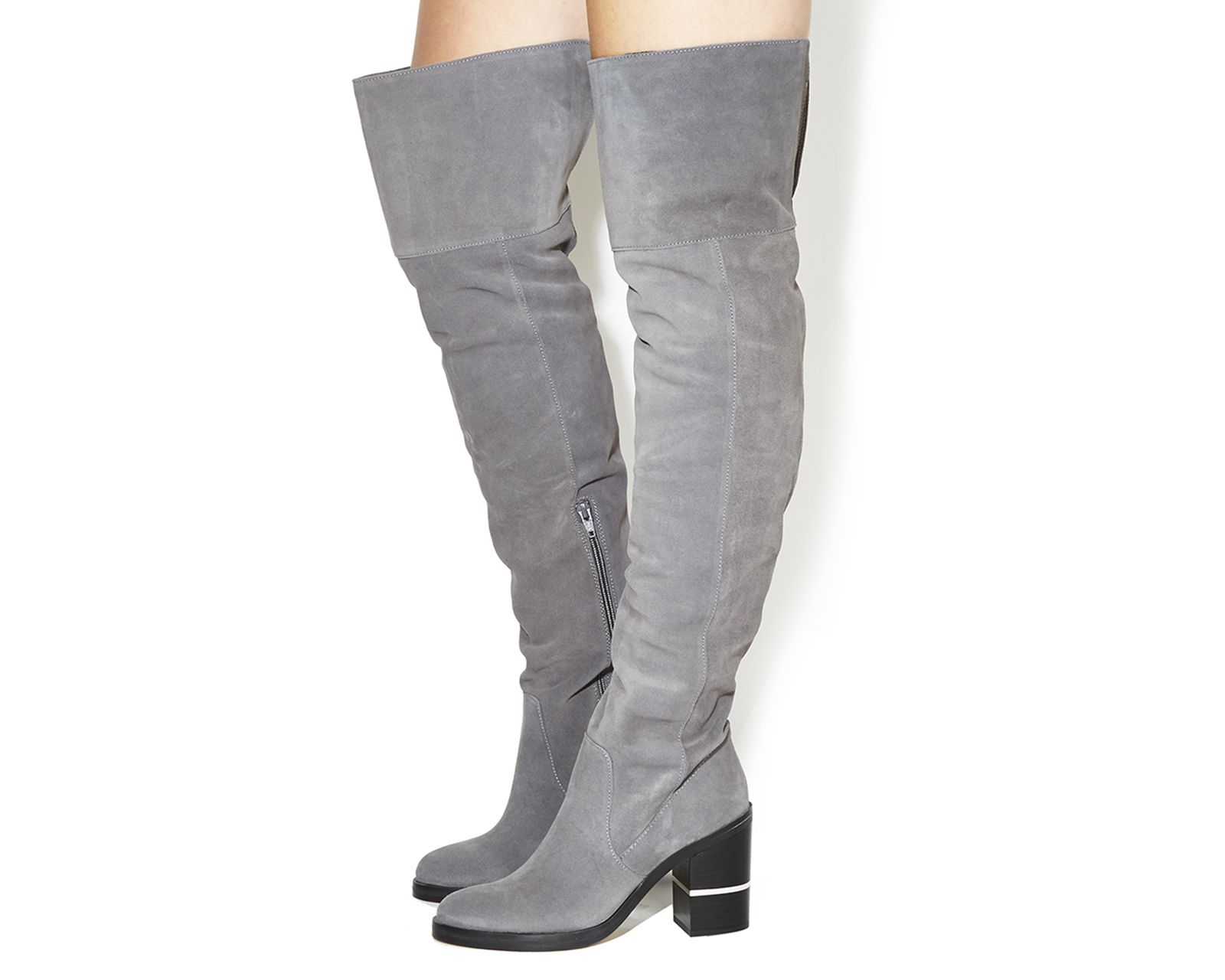 c1933d251e6 Buy Grey Suede Office Elemental Over the Knee Boots from OFFICE.co ...