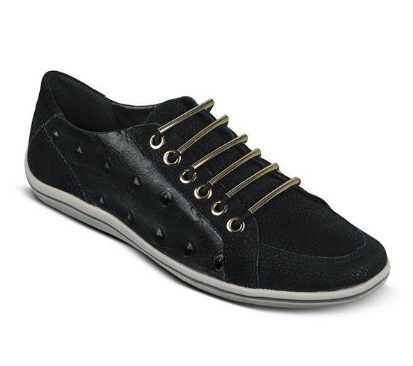 Tênis de couro preto com textura | Tênis | Bottero Calçados