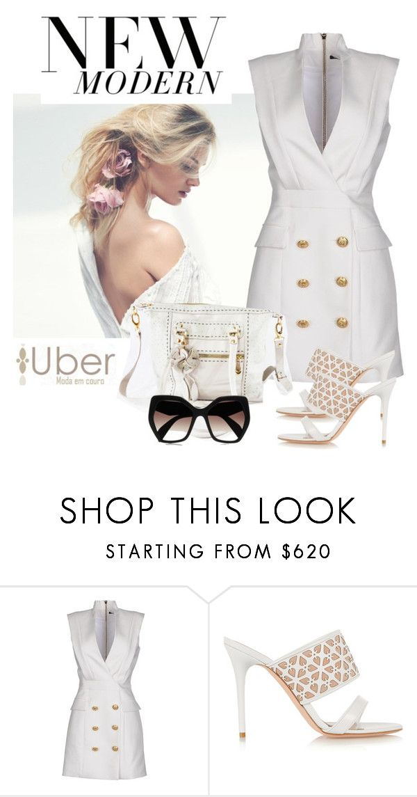 """""""Summer white style&Uber Moda em Couro"""" by goreti ❤ liked on Polyvore featuring Balmain, Alexander McQueen and Prada"""