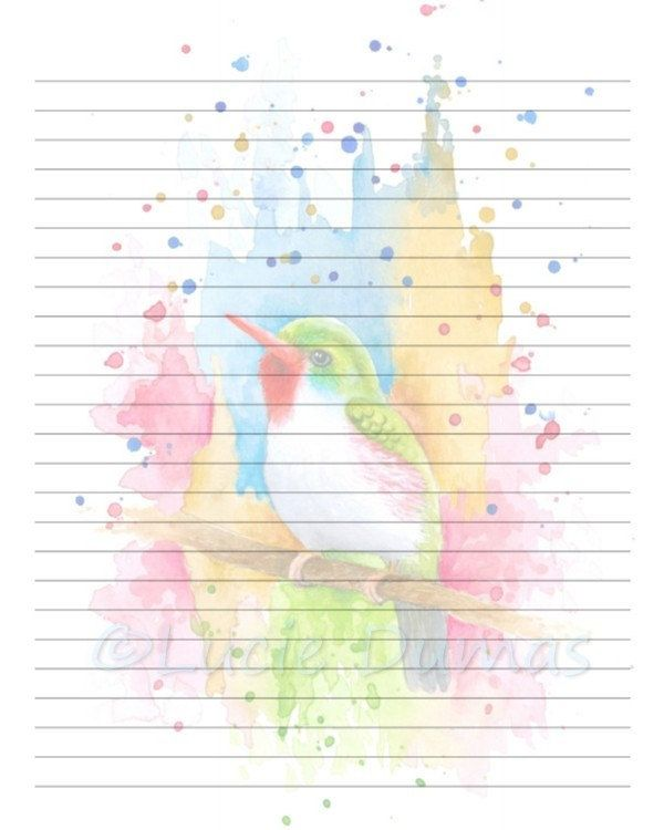 Digital Printable Journal Page Stationary 8x10 JPG Download - journal paper template