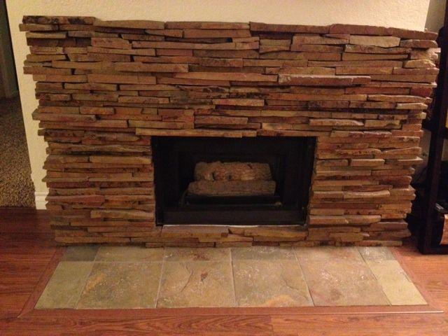 Stone Tile Fireplace | Ledgestone Fireplace - Stone Tile Fireplace Ledgestone Fireplace Fireplace Ideas