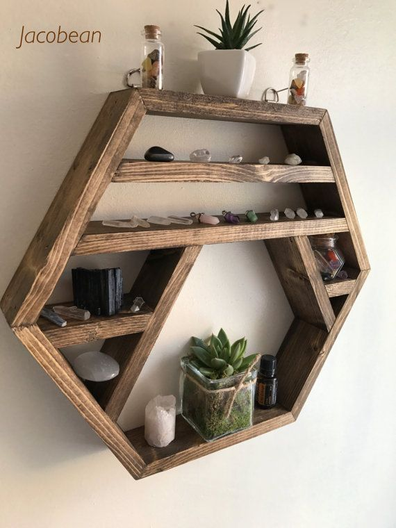 The Crystal Moon Crystal Display Shelf Hexagon Shelf Display Shelf Crystals Gems Shelf Reiki Moon Phase Chakra Wood Shelves Wooden Shelf Design Shelves In Bedroom