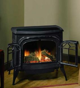 Black Pot Belly Gas Ventless Fireplace
