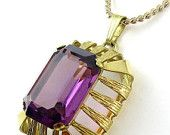 SALE Big Genuine Amethyst Solitaire in Basket Setting, K&L, G.F. Chain Necklace