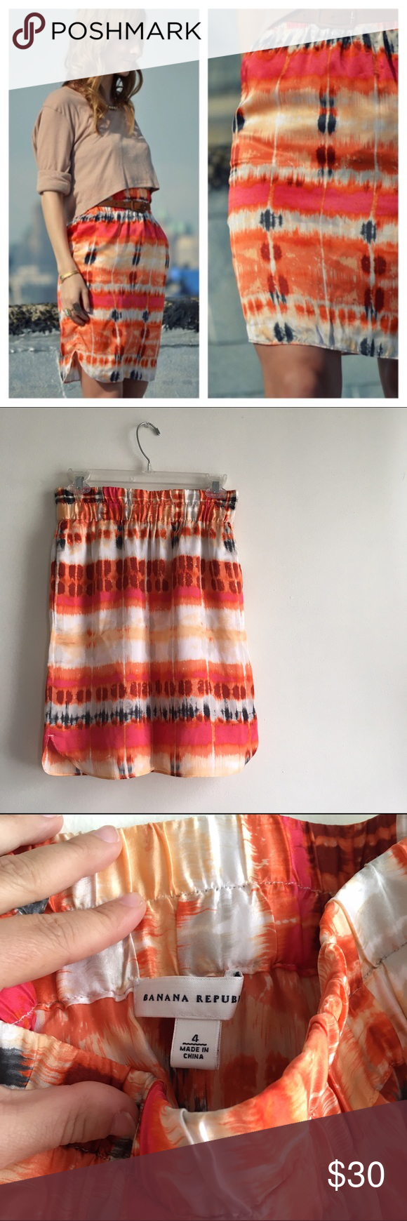 Gorgeous silk Banana Republic skirt! This colorful beauty is up for grabs! The watercolor/tie-dye print is even more stunning in person... deep oranges, bright pink, creams, and navy colors. You could pair this with a beige top and strappy heels, or dress it down. Elastic waistline and POCKETS!! Size 4. Perfect condition. 💕 Banana Republic Skirts