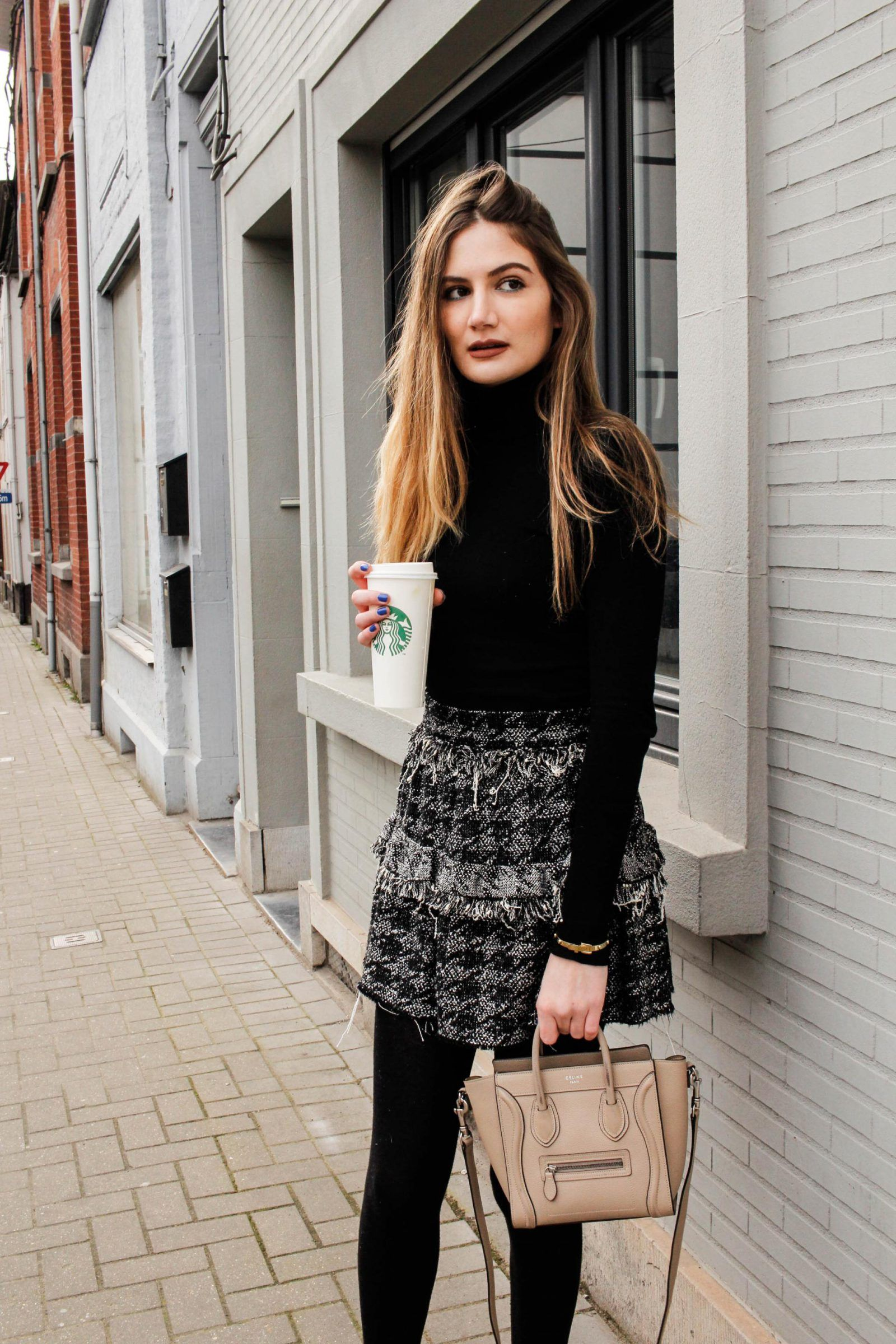 d6eefb4ea206 monochrome chic black céline nano tall blonde outfit blogger tweed skirt  ZARA