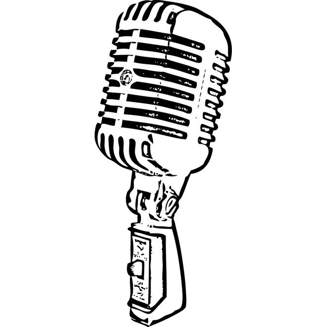 Retro Mic Free Vector Old Microphone Microphone Drawing Microphone