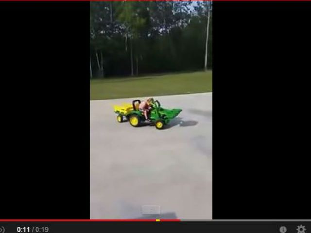 WATCH: Boy falls asleep 'at the wheel' on toy tractor