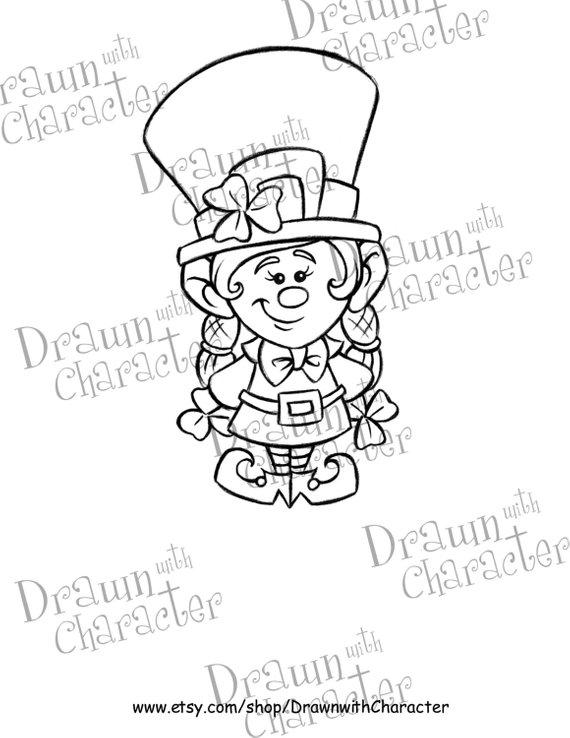 Girl Leprechaun Digital Stamp Art Kopykake Image Sp9 Lepgirl