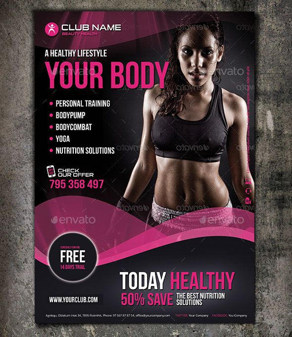 Fit Body Fitness Flyer Design Is One Of The Modern And Elegant