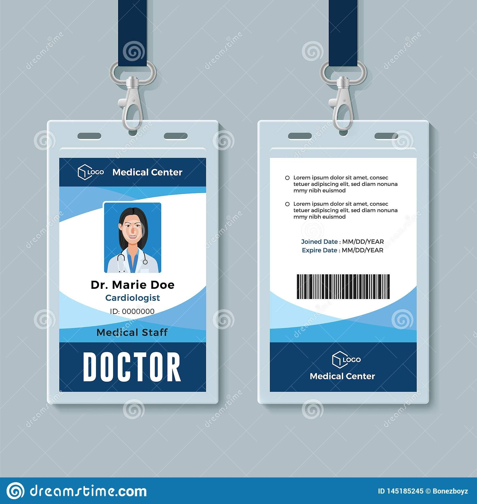 The Terrific Doctor Id Badge Medical Identity Card Design Template Stock Pertaining To Hospital Id Card Te Identity Card Design Id Card Template Card Template