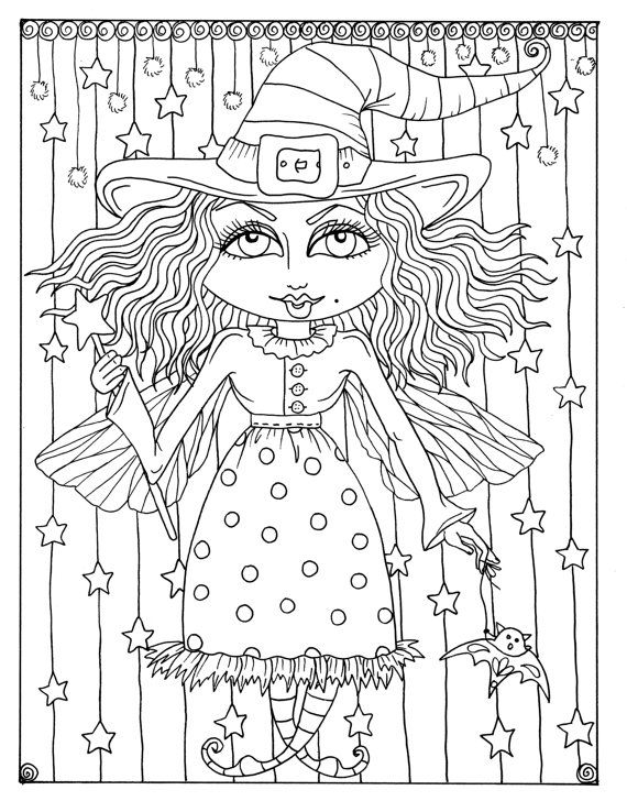 5 pages of Magical Witches to color halloween Instant Download/digi ...