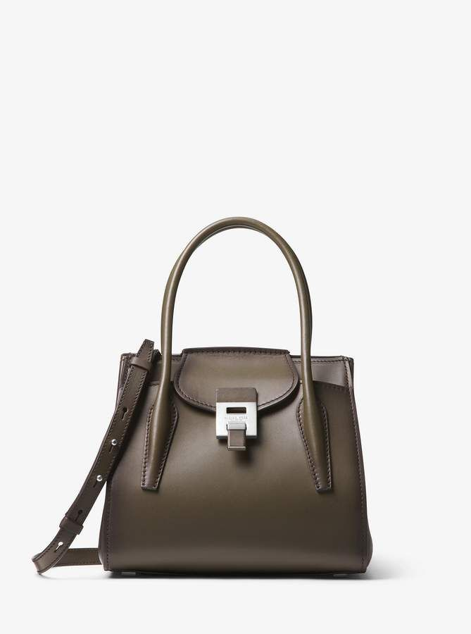 08889b9aed6f Michael Kors Collection Bancroft Medium Burnished Calf Leather Satchel -  Olive Green