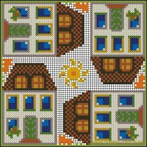 Tall houses cushion pattern » Happy Stitch