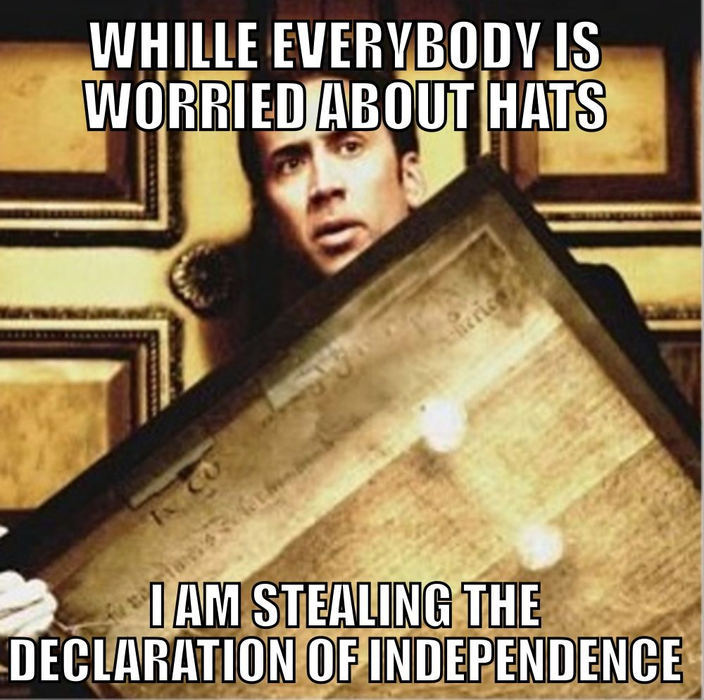 Nicolas Cage stealing the Declaration of Independence