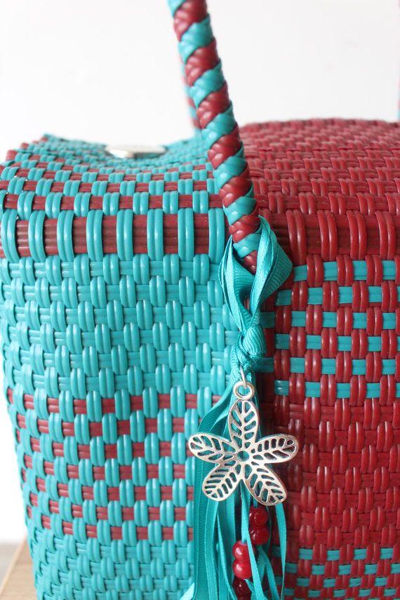Aqua Red Mexican Handbag Woven Tote Oaxaca By Meximexi Bags