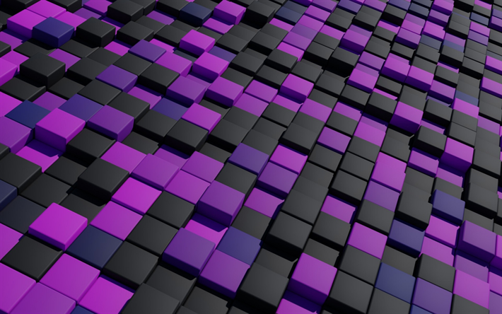 Download Wallpapers Purple Cubes Black Cubes Creative Geometric Shapes Cubes Besthqwallpapers Com Geometric Shapes Pink Art Geometric