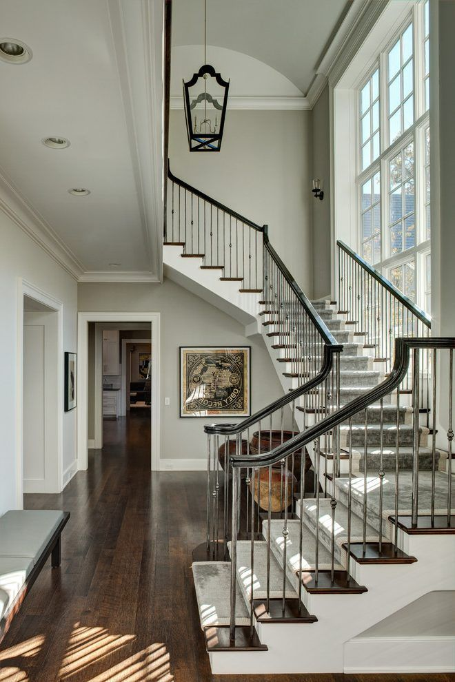 Best Gray Staircase Staircase Traditional With Dark Wood Floor 400 x 300