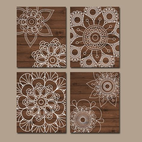 Photo of Wood Design Wall Art, Bedroom Wall Decor Canvas or Prints Bathroom Decor, Doilies Mandala Wall Art, Medallion Set of 4 Wood Home Decor