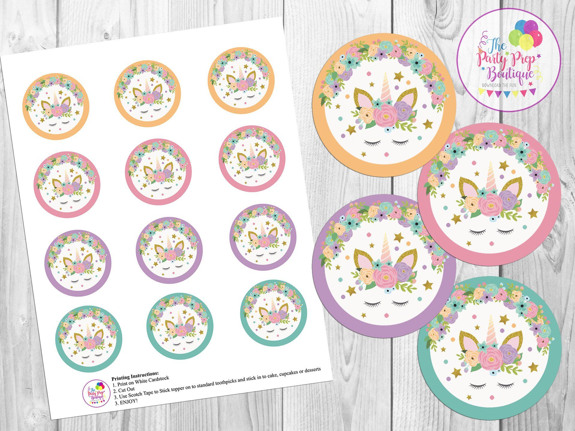 This is a photo of Unicorn Cupcake Toppers Printable for tribal theme cupcake
