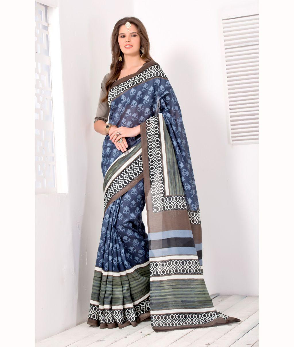 Silk saree below 2000 blue art silk printed saree with blouse   printed sarees