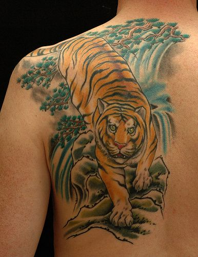 Pin By Tattoos And Tattoo Art On Tiger Tattoos Waterfall Tattoo Tattoos Tiger Tattoo