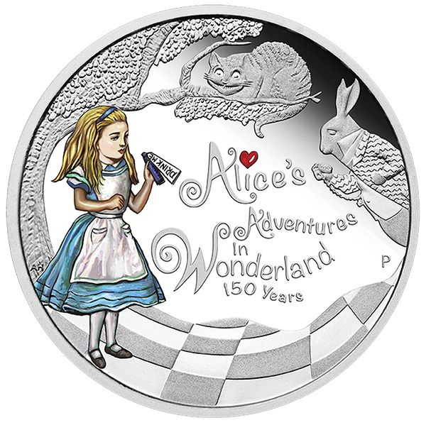 2015 150TH ANNIVERSARY OF ALICE/'S ADVENTURES IN WONDERLAND 1OZ SILVER PROOF COIN