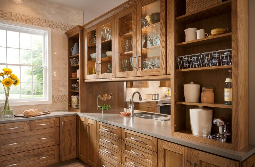Shenandoah cabinetry oak tawny mission door with 5 piece for Show me kitchen cabinets