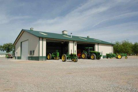 Best Walls Light Stone Deep Green Trim Roof Deep Green Workshop Storage Garage Steel 400 x 300