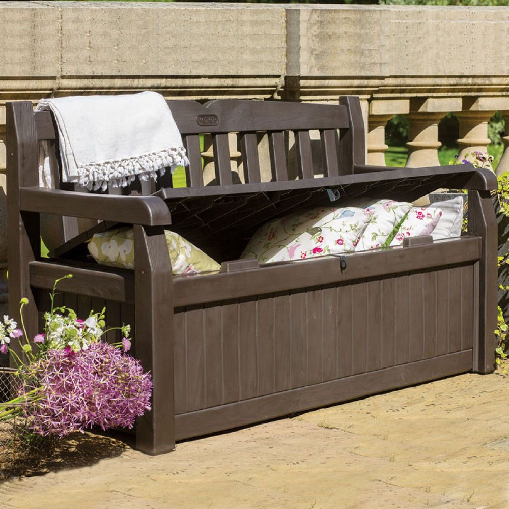 Outdoor Storage Bench Garden Pool Deck Box Weatherproof Patio Furniture New  #Unbranded