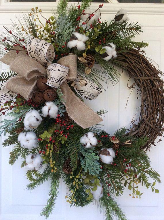 Couronne De Porte Noel Couronne de Noël pour porte coton Boll Couronne vacances   Etsy