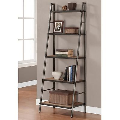 Weathered Gray Metal Ladder Bookshelf Reclaimed Oak Wood Display