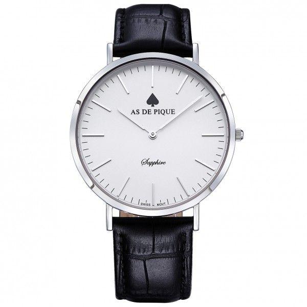 Elegante AS DE PIQUE Uhr in silber und schwarzem Leder ...
