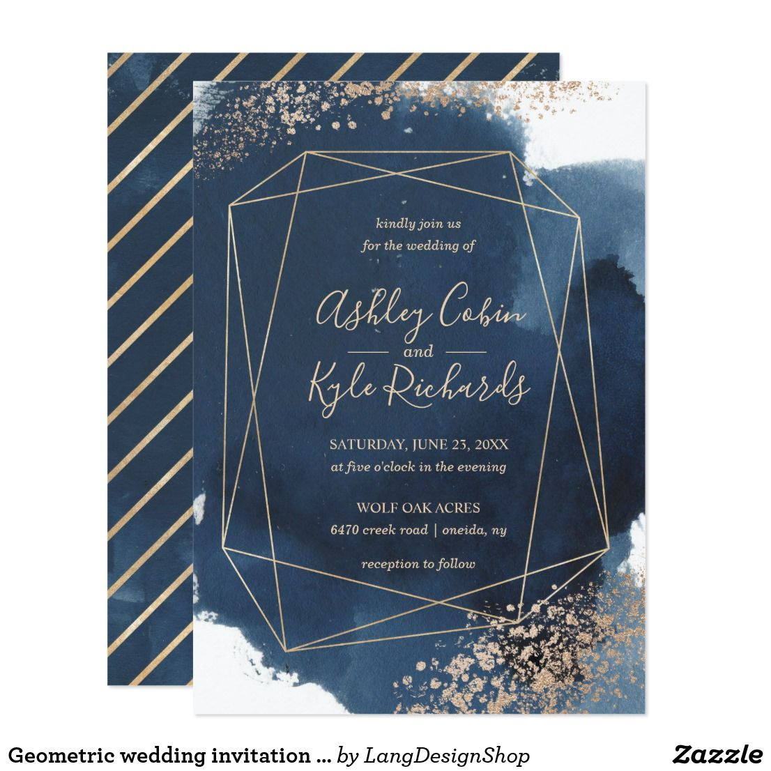 Geometric Navy And Gold Frame Watercolor Invitation Zazzle Com