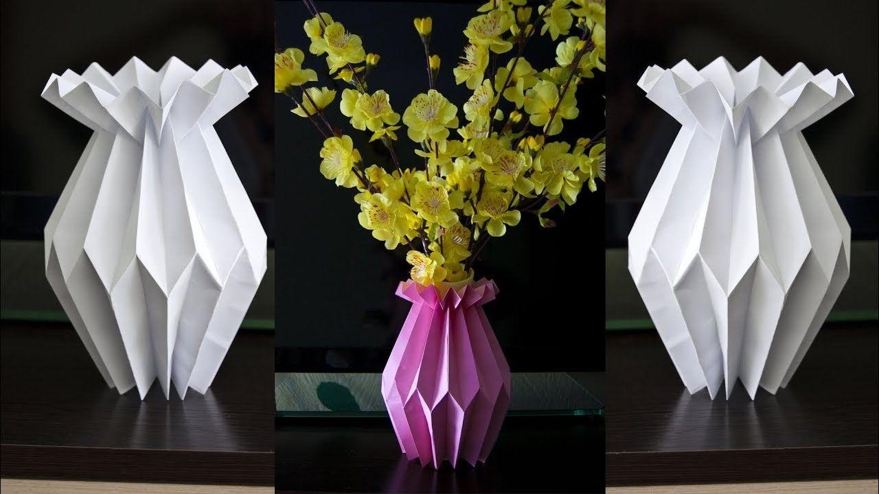How To Make A Paper Flower Vase Diy Paper Craft Home Decoration