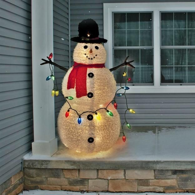 Christmas snowman decorations with lights