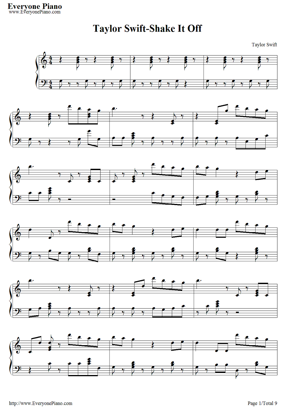 Shake it off taylor swift sheet music to modify piano sheet free shake it off piano sheet music is provided for you shake it off is a song by american recording artist taylor swift and included in her fifth studio hexwebz Choice Image