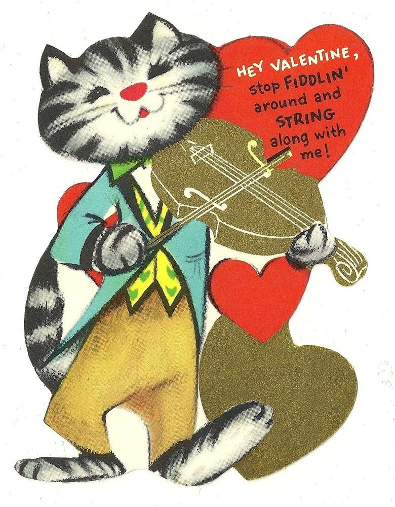 """KITTY CAT WITH VIOLIN - FIDDLE """"STRING ALONG WITH ME"""" / VINTAGE UNUSED VALENTINE"""