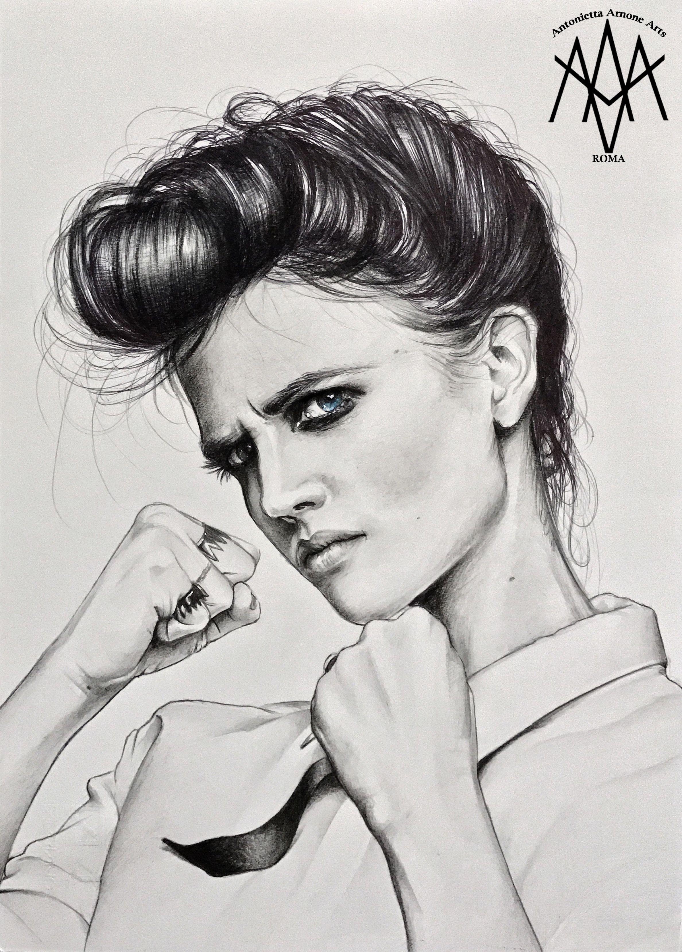 Evagreen antoniettaarnonearts portrait drawing realistic draw celeb pennydreadful eva green actress fanart celebrity drawart pencil pen