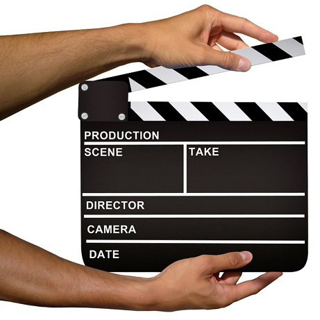 Hands Holding Movie Clapboard Video Marketing Book Trailer Hollywood Party Theme