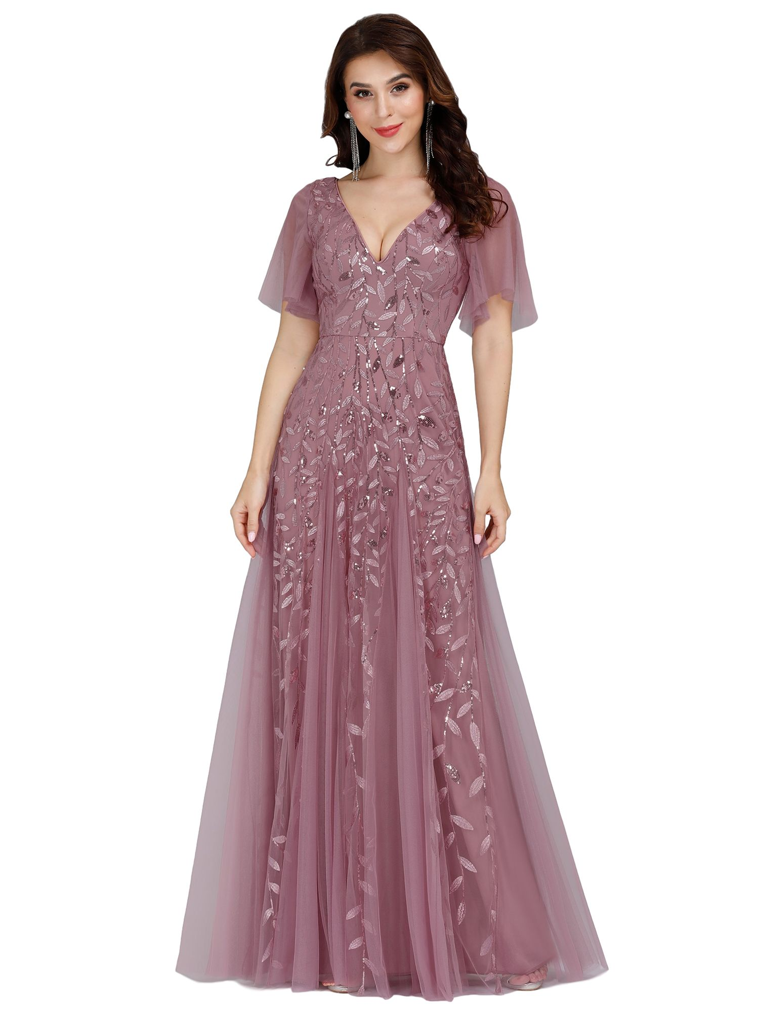Ever Pretty Ever Pretty Women S V Neck Embroidery Short Sleeve Wedding Party Evening Dress 00734 Dusty Pink Us4 Walmart Com In 2021 Long Bridesmaid Dresses Pretty Dresses Beautiful Evening Dresses [ 2000 x 1500 Pixel ]