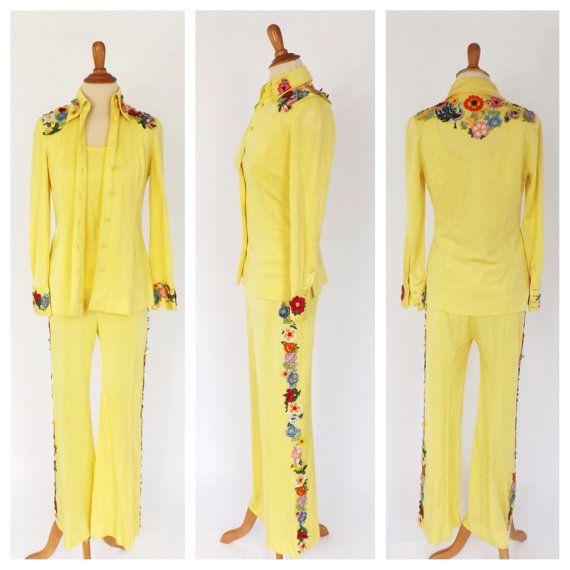Vintage 1960s Nudie Suit Manning Silver Pantsuit Womens