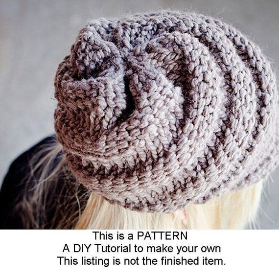 Instant Download - Cappello di lana Knitting pattern - Cappello di lana per  il turbinio Hat 29e0397508ef