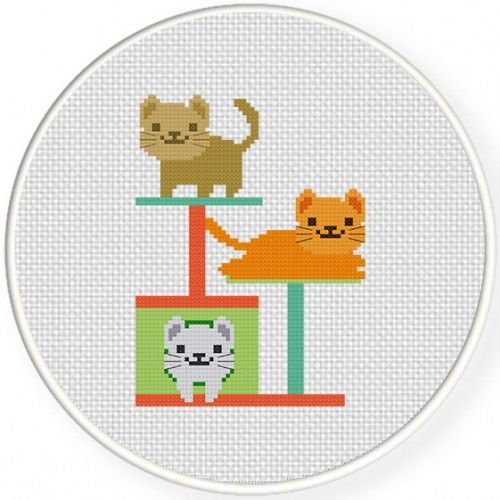 Cat Playhouse Cross Stitch Illustration $1